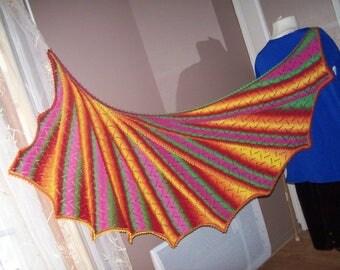Knit shawl handmade - lace pattern - enameled multicolored tones tart.