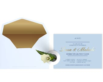 A5 Hardcover Embossed Gold Foil Wedding Invitation (Price is not full order per unit price, see description)
