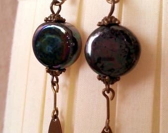 Earrings bronze and iridescent Black Pearl