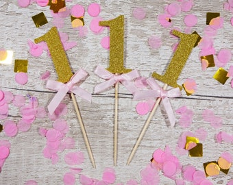 10 x 1st Birthday Celebration Pink Blue Bow Gold Glittery Number One Boy Girl Toddler Cupcake Toppers Cake Decorations Party Accessories