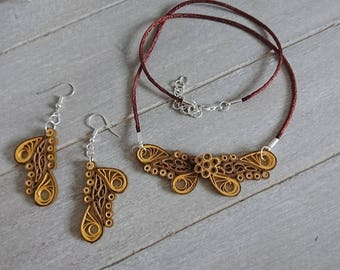"Jewelry set series ""Butterfly"" in Brown"