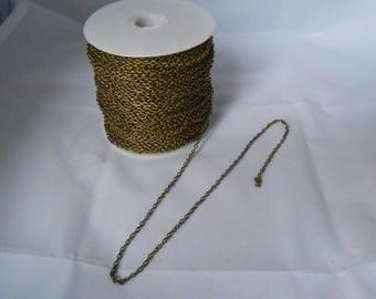 1 m chain link 3 x 2 mm antique bronze color lead free