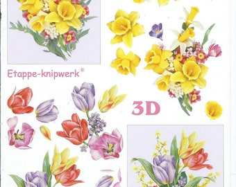paper cutting for 3D Daffodil flowers 3 cards