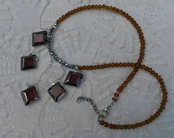Opal glass caramel and faceted glass beads necklace