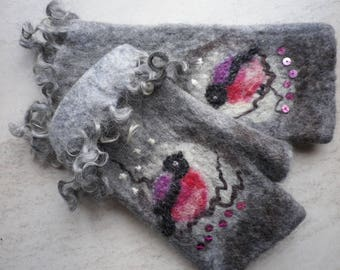 Felted cuffs-gloves-pulse warmer