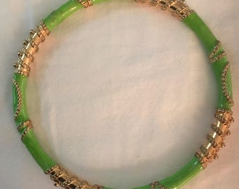 Green and Gold Middle Eastern flair bangle bracelet