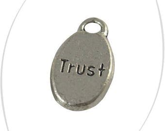 Set of 2 silver Trust oval charms 15.5 x 8.5 mm, thickness 3 mm, 2.5 mm hole