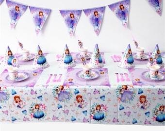 Princess Sofia Birthday Party Supplies Tableware Set Kids Decoration Girls Theme