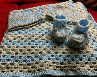 Baby Boy Hat, Bootie & Blanket Set