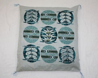 Vintage 80s Japanese Cushion Cover Pillow Case Cyan Size 21.50x23.25