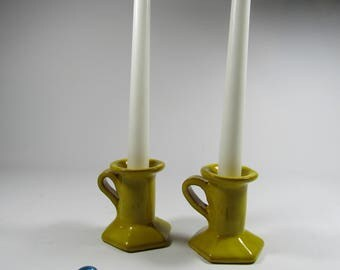 SET of 2 candle holders ceramic terracotta