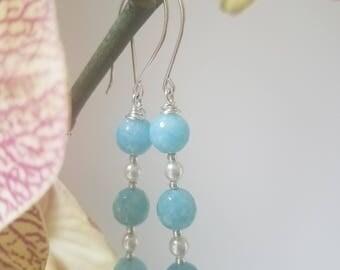 Aquamarine Quartz Earrings. Peal Earrings. Wire Wrapped Earrings. Long Earrings. Drop Earrings. Silver Drop Earrings. Dangle Earrings.