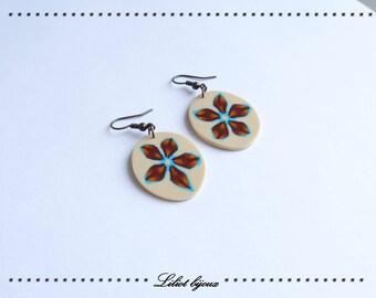 Vintage Brown and beige Flower Earrings