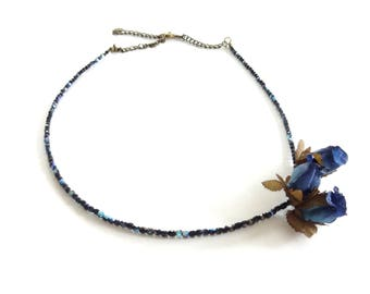 Headband - black faceted beads - romantic flower headband