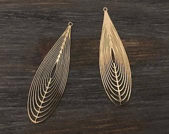 6 pcs fine prints drops 55x16mm Golden jewellery designs
