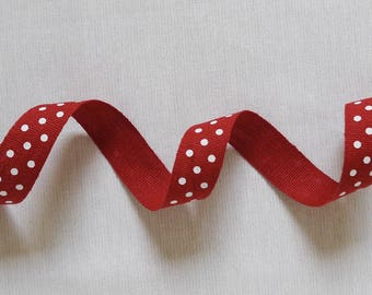 White Polka dots in 100% linen 20mm Red Ribbon