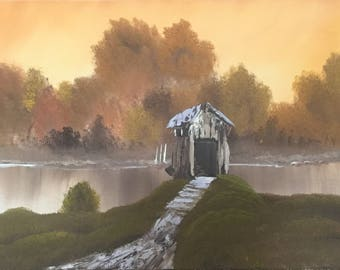 Covered Bridge Oil Painting