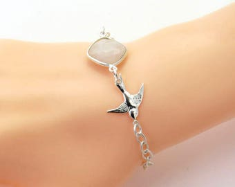 Sterling Silver Swallow Bird Bracelet, Silver Bird Bracelet, Hummingbird Charm, Bird Jewelry, Moonstone Bracelet, Moonstone jewellery