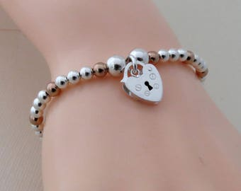 Sterling Silver and Rose Gold Stretch Bracelet with Heart Charm, Silver Padlock Heart Charm Bracelet, Gift for Women