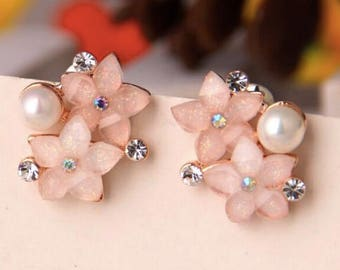 Flower Earrings- Pearl Earrings for Women- Real Gold Plated Austria Crystal Stud Earrings.