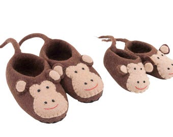 Gorgeous felt monkey slippers booties for kids