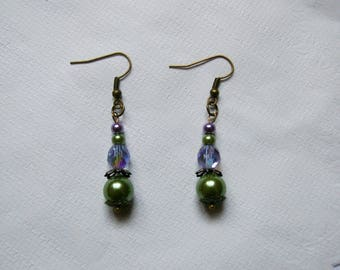 bronze Pearl Earrings green and purple