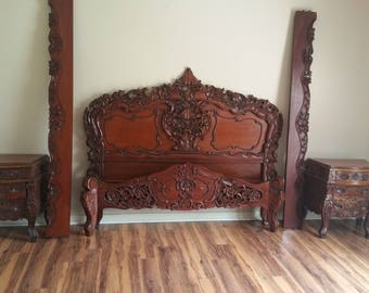 mahoney vintage moroccofrench queen bed with sides matching night - Antique Queen Bed Frame