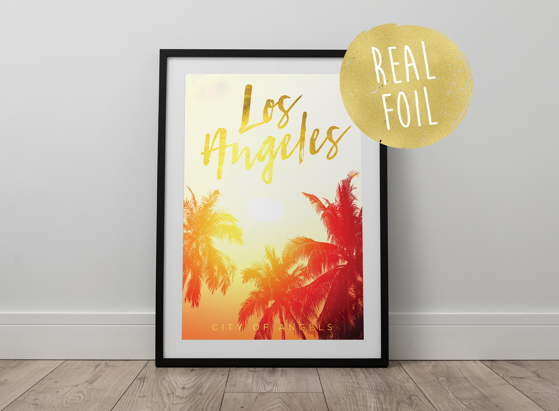 Real Gold Foil Los Angeles Print - Travel, Wanderlust, California ...