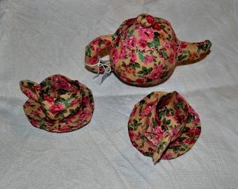 Tea set in liberty fabric