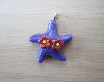 Charm purple starfish and flower