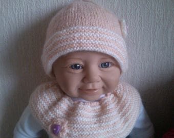 Matching 3 months hand knitted woolen hat and collar