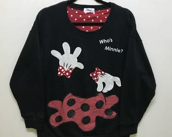 Rare!!! Disney Minnie Sweatshirt Pullover Big Picture Spellout 'who's minnie' Multicolors