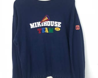 Rare!!! Vintage!!! Miki House Sweatshirt Pullover Spellout Multicolors Embroidery Canada