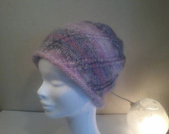 Hat pink/gray and white
