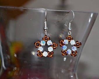 Copper and white Swarovski Crystal stars earrings