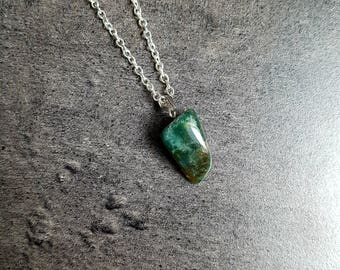 Necklace natural gemstone and nickel free silver chain