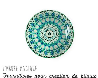 2 Cabochons to glue glass 18 mm turquoise green Mantra mandala