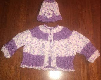 Baby matching sweater and hat