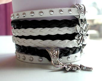 Bracelet liberty, black and white, faux leather and suede, charms, fairies, 35 mm