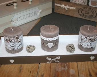 set candles shabby taupe and white lace hearts
