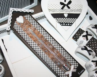thermometer black gingham and lace heart home
