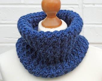 Denim Blue Cowl, Circle Crochet Chunky Winter Knit Scarf, Children / Ladies Knitted Accessories, Chunky Snood, Handmade Dark Blue Neckwarmer