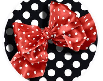 Red bow on polka dot background, 25mm