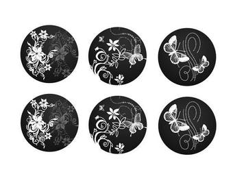 12mm, 3 pairs of butterflies and flowers theme