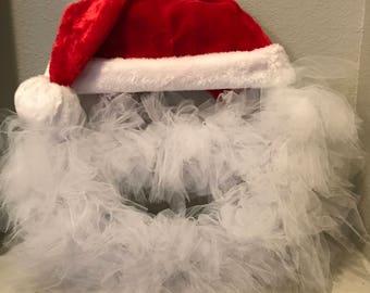 Santa Wreath - Santa Claus - Santa Decor - Christmas Wreath - Tulle Wreath - Holiday Wreath
