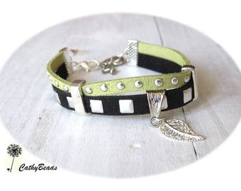 shipping... studded suede/suede bracelet in green and black