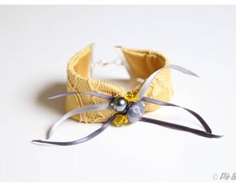 Montmartre yellow grey lace Cuff Bracelet