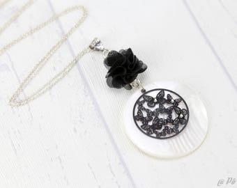 White flower black #1184 pendant long necklace