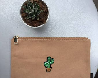 Cactus Patch clutch bag with zipper