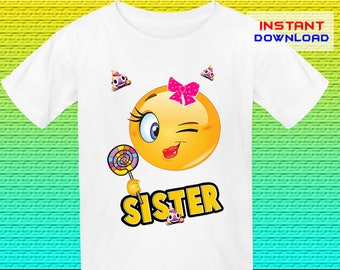 Sister Emoji Birthday Shirt Iron On, Emoji Iron On Transfer, Emoji Birthday Shirt Design, Digital File Only, Instant Download